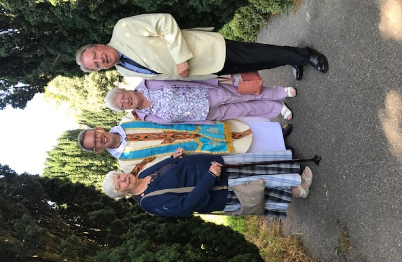 Pictured with Rev Crockford after the service are Rt Hon David Evennett MP, Mavis Fielder-White and Jean Bourn.