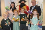 Bexley's Mayor, Cllr. Eileen Pallen, and David Evennett MP with children from Gravel Hill Primary School.