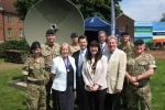 David Evennett MP, Cllr. Eileen Pallen and James Brokenshire MP with senior members of the Squadron.